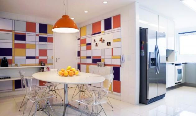 Cozinha-e-sala-de-jantar-integradas-com-estilo-Mondrian